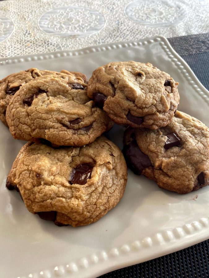 The completed chocolate chip cookies are ready to be served.