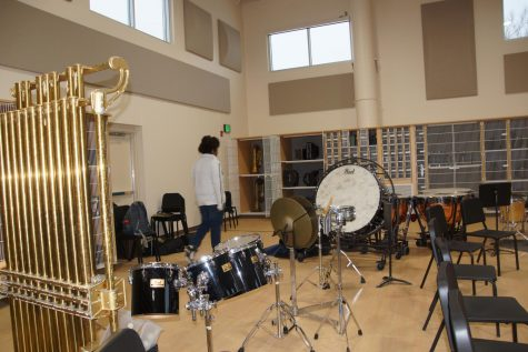 New band room provides more space for percussionists and an area to store intruments.