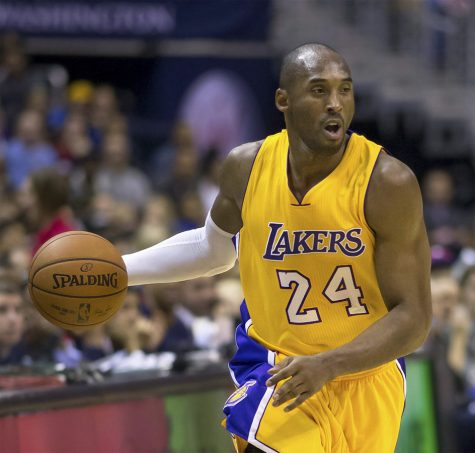Kobe Bryant pictured above playing for the Los Angeles Lakers against the Washington Wizards