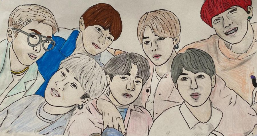 BTS members (from left to right) RM, Suga, V, Jungkook, Jimin, Jin, and J-Hope preach to their fans about self-confidence and the pursuit of personal goals.