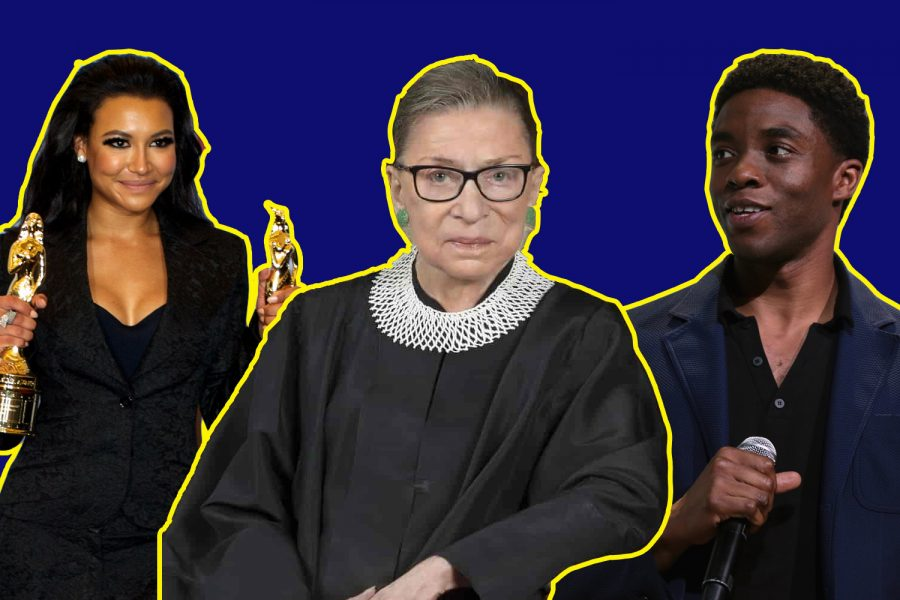 From left to right: actress Naya Rivera, Supreme Court Justice Ruth Bader Ginsburg and actor Chadwick Boseman are just a few of the heart-wrenching, high-profile deaths of 2020.