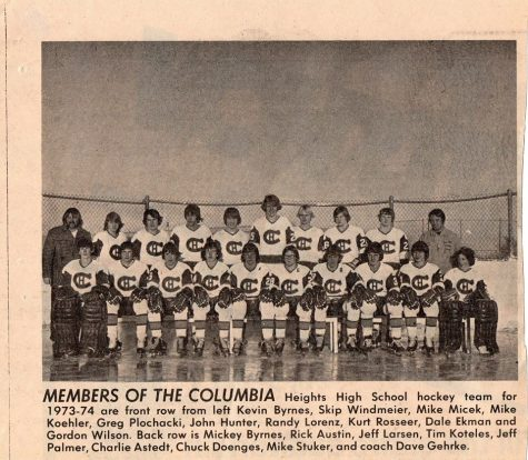 Photo collected from the CHHS Alumi Facebook page of the 1973-74 Hockey Team