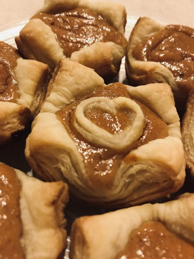 The mini puff pastry pies, when all done, can be customized to create a heart in the middle.