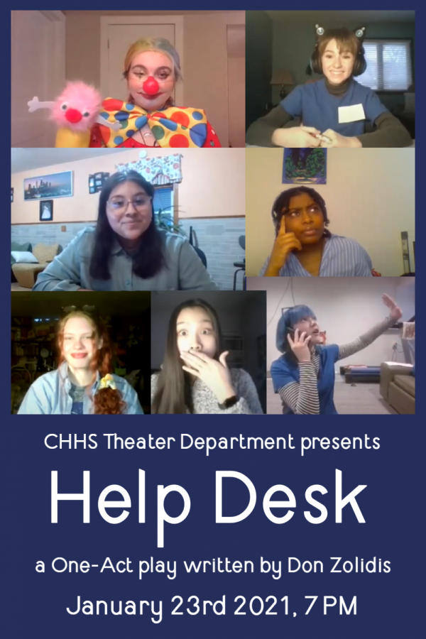 Help Desk hits the virtual stage in Columbia Heights High School's first production of 2021! Clockwise from top left: Dani Plasch (12) as Boris, Boffo and Brin; Sophie Kuether (10) as Talula, Monique, Yamira and Vic; Chrishonna Soward (11) as Jeralyn, Tamara, and Jess; Lily Kleinschmit (9) as Tanner, Marcus, Charlie and Vic; Danquyen Le (10) as Bailey, Mara and Mabel; Catherine Loper (12) as Carter, Preston and Chase; and Yuli Cordova (11) as Angel, Dani, Brent and Brett.