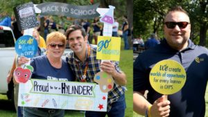 Ms. Karen Crotty, far left, and Mr. Rick Ostby, far right, are fondly remembered by staff, students and families from across the district because of their commitment to their professions and the care they displayed for many.