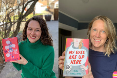 """Minnesota Book Award finalists Nicole Kronzer (left) and Laura Zimmermann (right) pose with their respective books, """"Unscripted"""" and """"My Eyes Are Up Here""""."""