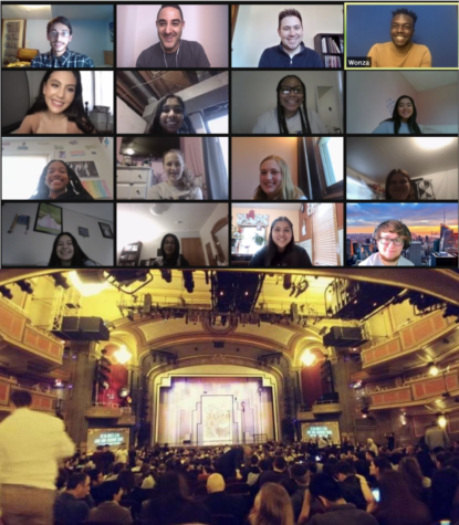 The typical New York seminar would feature a night in the theater (bottom), along with an array of various other tourist events, but now that it is online, students instead meet on Zoom to talk to Broadway stars (top).