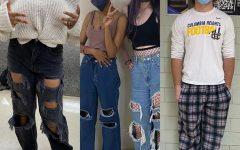 Some might say that these CHHS students (from left to right: Amara Thompson, Jeehan Mohamoud, Paris Whitney and Jonathon Heveron) are breaking the CHHS dress code.
